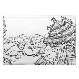 Big Bad Wolf Blowing Down House Three Little Pigs Placemat
