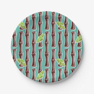 """Big Bamboo - Aqua - 7"""" Paper Plate"""