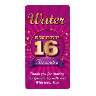Big Bash Pink Sweet 16 Water Label
