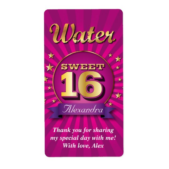 Big Bash Pink Sweet 16 Water Label Shipping Label