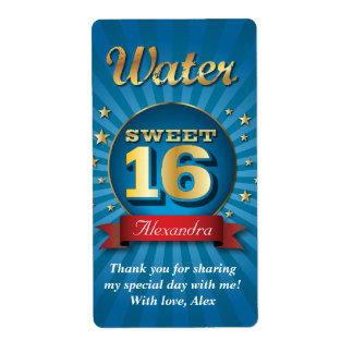 Big Bash Sweet 16 Water Bottle Label Shipping Label