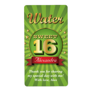 Big Bash Sweet 16 Water Label Shipping Label
