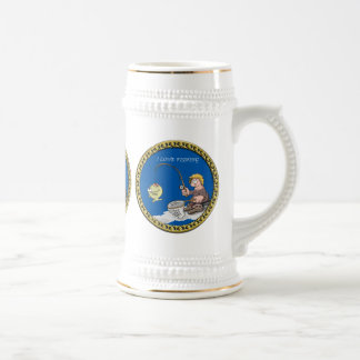 Big bass fisherman fishing on the ice beer stein