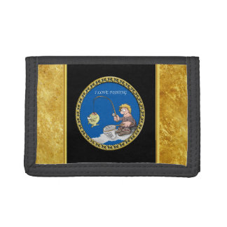 Big bass fisherman fishing on the ice trifold wallet