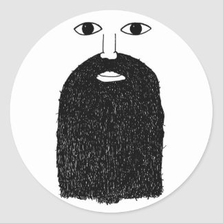 Big Beard Man Round Sticker