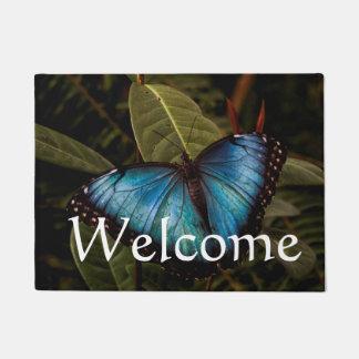 Big ,beautiful , blue butterfly doormat