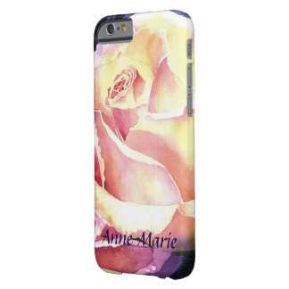 Big Beautiful Pink Rose Watercolor with Your Name Barely There iPhone 6 Case