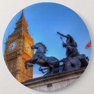Big Ben and Boadicea Statue 6 Inch Round Button