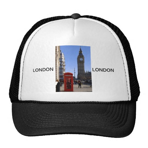 Big Ben and Red Telephone box in London Trucker Hats