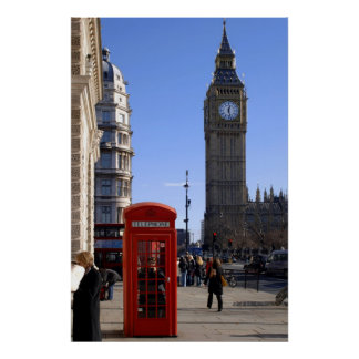 Big Ben and Red Telephone box in London Poster