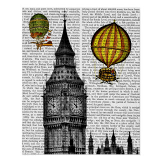 Big Ben and Vintage Hot Air Balloons Poster