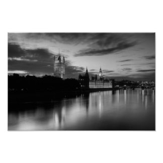 Big Ben and Westminster in black and white Poster