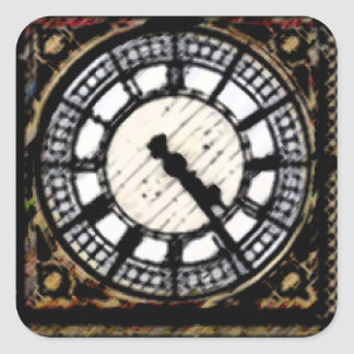 Big Ben clock-face in Acrylics Square Sticker