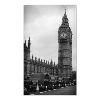 Big Ben en taxi cabs in black and white print