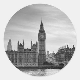 Big Ben Monochrome Round Sticker