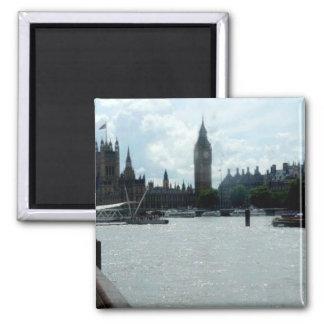 Big Ben On River Thames London Square Magnet