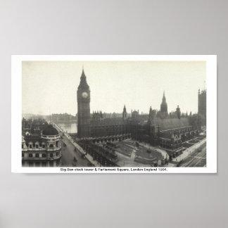Big Ben & Parliament Square London 1904 Poster