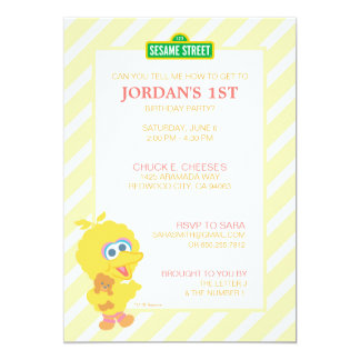 "Big Bird Baby Birthday 5"" X 7"" Invitation Card"