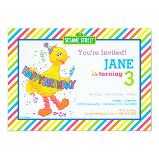 "Big Bird Striped Birthday 5"" X 7"" Invitation Card"
