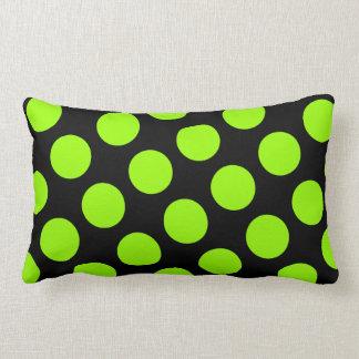 Big Black and Green Polka Dot American MoJo Pillow