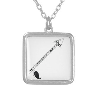 big black ink tribal arrow silver plated necklace