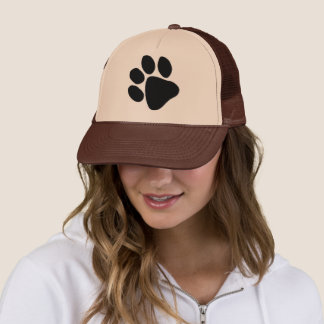 Big Black Pawprint Dog Trainer Veterinarian Hat