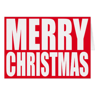 Big Block White Merry Christmas Card