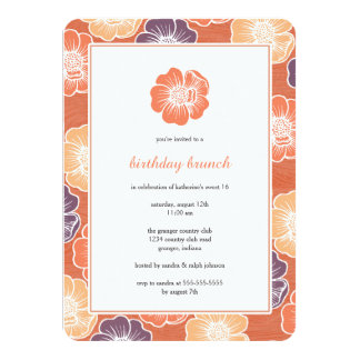 Big Bloom Sixteen Birthday Invites (orange)