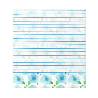 Big Blue Blossoms Watercolor Flowers Lined Notepads