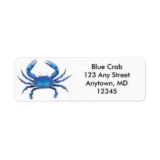 Big Blue Crab Label Return Address Label