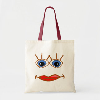 big blue eyes red lips face budget tote bag
