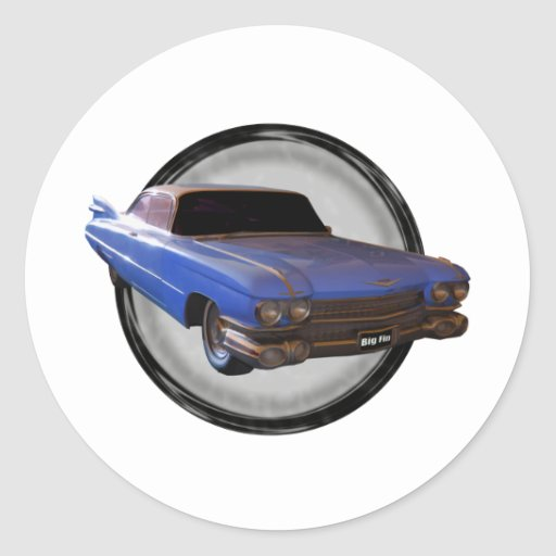 Big Blue Fin 1959 Cadillac Round Sticker