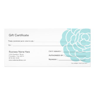 Big Blue Flower Gift Certificate Design 4 Personalized Rack Card