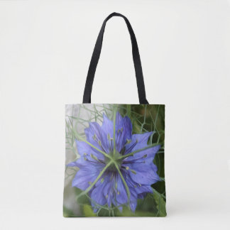 Big Blue flower on a tote bag