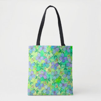Big Blue Flowers Bees Tote Bag