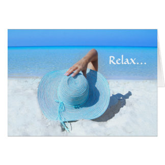 Big Blue Hat on Beach Retirement Greeting Card
