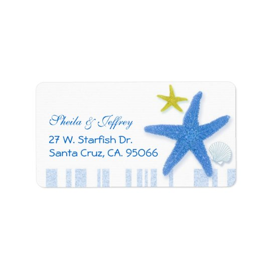 Big Blue Starfish + Stripes Wedding Label