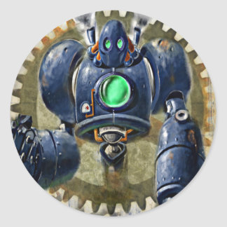 Big Blue  Steampunk  Robo Classic Round Sticker