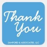 Big blue Thank You in cursive business etiquette Square Sticker