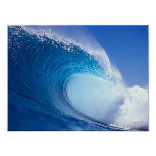 Big blue wave print