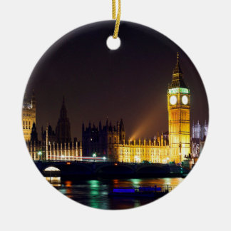 Big Bn on London River Round Ceramic Ornament
