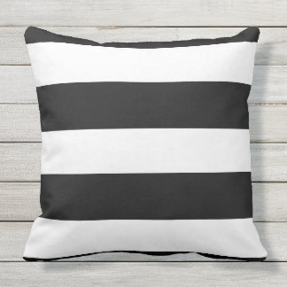 Big Bold Black And White Striped Outdoor Pillow
