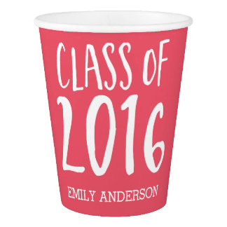 Big Bold Class of 2016 Modern Pink | White Paper Cup