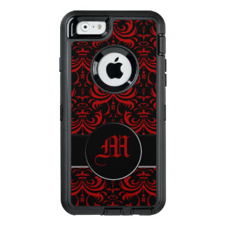 Big Bold Damask (Red) (Monogram) OtterBox Defender iPhone Case