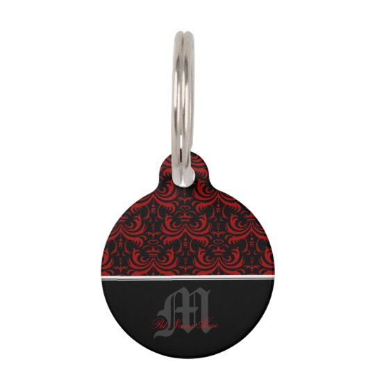 Big Bold Damask (Red) Pet ID Tag