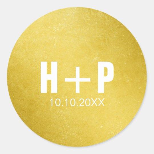 Big Bold Gold Wedding Classic Round Sticker