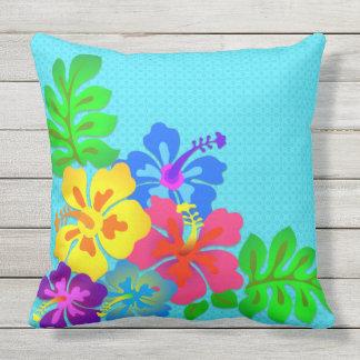Big Bold Hawaiian Flowers Aqua Outdoor Throw Pillow
