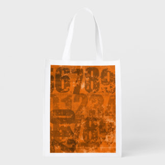 Big Bold Numbers on Brownish Orange Grunge Texture Reusable Grocery Bags