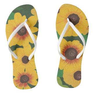 Big Bold Painted Yellow Sunflowers Green FlipFlops Flip Flops