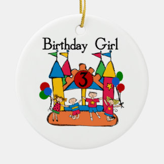 Big Bounce Girl 3rd Birthday Tshirts and Gifts Ceramic Ornament